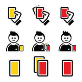 Football or soccer yellow and red card icons set — Stock Vector