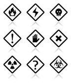 Danger, warning, attention square icons set — Stock Vector