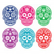 Mexican sugar skull, Dia de los Muertos colorful icons set — Stock Vector