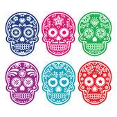 Mexican sugar skull, Dia de los Muertos colorful icons set — Vector de stock