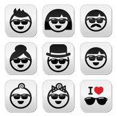 Les personnes portant des lunettes de soleil, vacances icônes définies — Vecteur