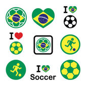 Brazilian flag, football or soccer ball icons set — Vector de stock
