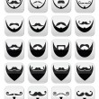 Beard with moustache or mustache vector icons set — Vettoriale Stock