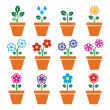 Flower, plant in pot vector colorful icons set — Stock Vector #44747913