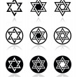 Jewish, Star of David icons set isolated on white — Stock Vector #44794409