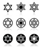 Jewish, Star of David icons set isolated on white — Stock Vector