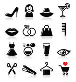 Woman or girl - beauty and fashion vector icons set — Stock Vector