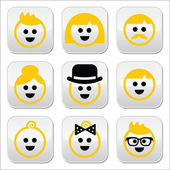 People with blond hair vector icons set — Stock Vector