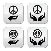 Peace sign with hands icons set — Stock Vector