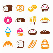Bakery, pastry icon set - bread, donut, cake, cupcake — Stock Vector