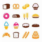 Bakery, pastry icon set - bread, donut, cake, cupcake — Stock Vector