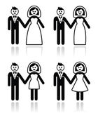 Wedding, married couple, bride and groom icons set — Stockvektor