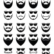 Beard and sunglasses, hipster icons set — Stok Vektör