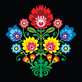 Polish folk embroidery with flowers - traditional pattern on black background — Stock Vector