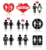 Couple breakup, divorce vector icons set — Stock Vector