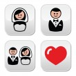 Groom and bride on round white buttons — Stock Vector
