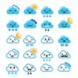 Cute cloud - Kawaii, Manga icons with different expressions - happy, sad, angry — Stock Vector #45222957