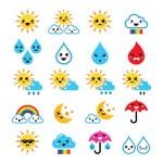 Cute sun, rainbow, moon, rain and cloud - Kawaii, Manga icons — Stock Vector #45276971