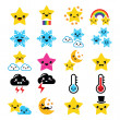 Cute weather kawaii icons -star, rainbow, moon, snowflake, thunders and cloud — Stockvector  #45327537