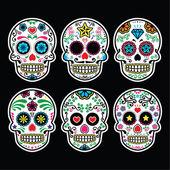 Mexican sugar skull, Dia de los Muertos icons set on black background — Stok Vektör