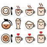 Cute coffee, cappuccino and espresso kawaii icon set - vector — Stock Vector #45503999