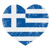 Greece heart love retro flag — Vector de stock