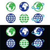 Globe earth vector icons in color — Stock Vector