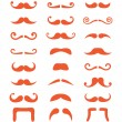 Ginger moustache or mustache vector icons set — Stock Vector