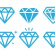 Diamond luxury vector icons set — Stock Vector