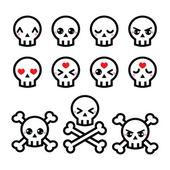Kawaii cute Halloween skull icons set — Stock Vector