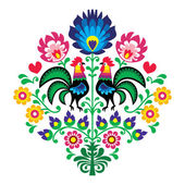 Polish folk embroidery with roosters - floral pattern Wzory Lowickie Wycinanka — ストックベクタ