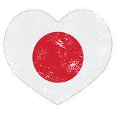 Japan retro heart shaped vector flag — Stock Vector