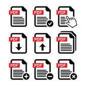 PDF download and upload icons set — Stock Vector