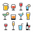 Drink colorful alcohol beverage icons set — Stock Vector