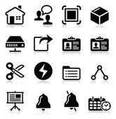 Web, conjunto de ícones pretos de vetor de internet — Vetor de Stock
