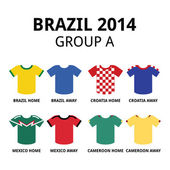 World Cup Brazil 2014 - group A teams football jerseys — Stock Vector