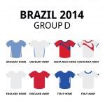 World Cup Brazil 2014 - group D teams football jerseys — Stock Vector #46400233