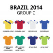 World Cup Brazil 2014 - group C teams football jerseys — Stock Vector #46426237