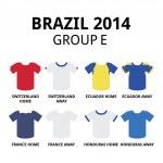 World Cup Brazil 2014 - group D teams football jerseys — Stock Vector #46440341