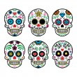 Mexican sugar skull, Dia de los Muertos icons set on white background — Stock Vector #46448243