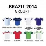 World Cup Brazil 2014 - group F teams football jerseys — Stock Vector #46464117