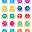 Dotted colorful arrows round icons set isolated on white — Stock Vector #46654055
