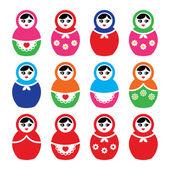 Russian doll, retro babushka vector colorful icons set — Stock Vector