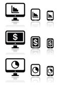 Business, chart on computer, tablet, smartphone vector icons set — Stock Vector