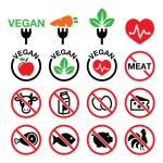 Vegan, no meat, vegetarian, lactose free icons set — Stock Vector #46942607