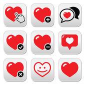 Heart, love vector icons set — Stock Vector