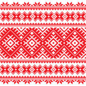 Seamless Ukrainian folk red embroidery pattern — Stok Vektör