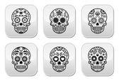 Mexican sugar skull, Dia de los Muertos icons set — Stock Vector