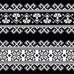 Ukrainian, Slavic seamless folk embroidery pattern on black — Stock Vector