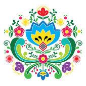 Norwegian folk art Bunad pattern - Rosemaling style embroidery — Stock Vector